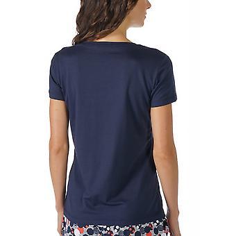 Mey 16824-408 Women's Night2Day nacht blauw effen kleur Pajama pyjama's Top