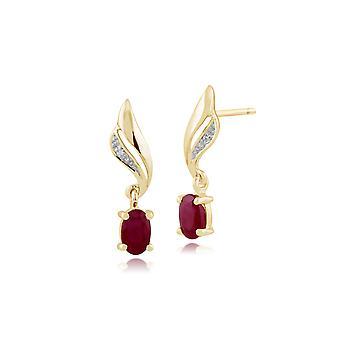 Klassische Oval Rubin & Diamant Twist Tropfen Ohrringe in 9ct Gelbgold 135E1154029
