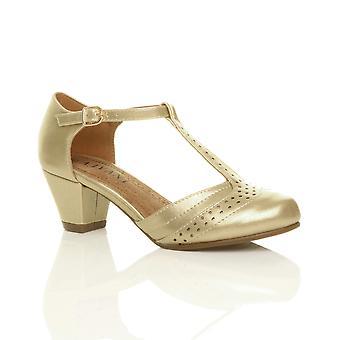 Womens Ajvani milieu bloc bas talon en forme de t brogue confort caoutchouc seul tribunal chaussures sandales