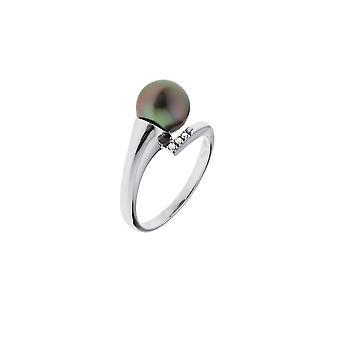 Tahiti A Pearl anel das mulheres, diamantes 0, 2 CTS e ouro branco 375/1000
