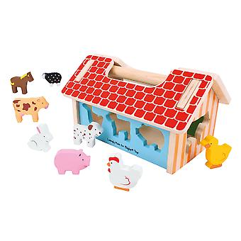 Bigjigs Toys Wooden Educational Farmhouse Shape Sorter