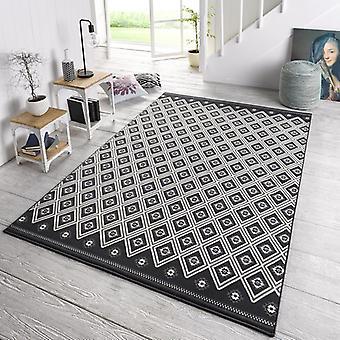 Designer velour carpet loin black grey