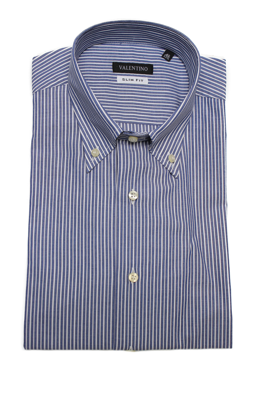 Valentino Men's Slim Fit Cotton Dress Shirt Pinstripe-Blue-White