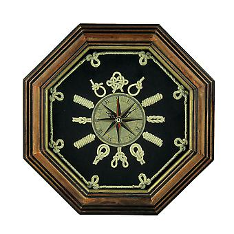 Wood Frame Nautical Knotboard Compass Rose Wall Clock