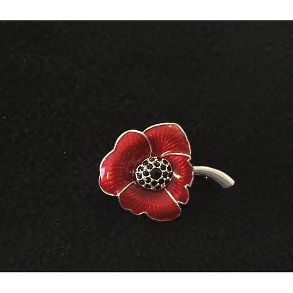 Union Jack Wear Poppy Brooch Enamelled Silver Finish