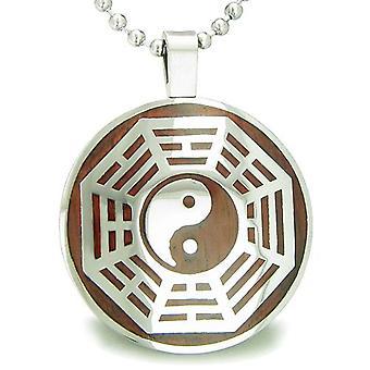 Yin Yang åtte Trigrams Amulet magiske tre krefter sirkel anheng halskjede