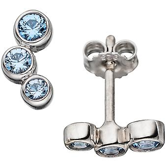 Cubic zirconia stud earring 925 rhodium-plated sterling silver with 6 cubic zirconia blue