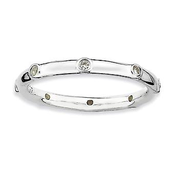 925 Sterling Silver Bezel Polished Rhodium plated Stackable Expressions White Topaz Ring Jewelry Gifts for Women - Ring