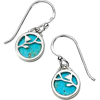 Elemente Silber Floral Vine Türkis Haken Ohrringe - Silber/Blau
