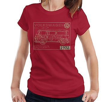 Official Volkswagen Type 2 Camper Plans Light Text Women's T-Shirt