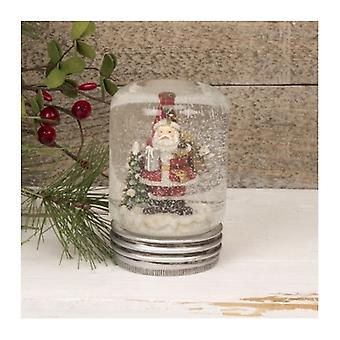 Cute Santa Lidded Jar Snow Globe