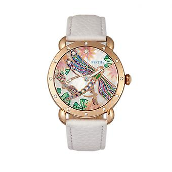 Bertha Jennifer MOP Leather-Band Ladies Watch - Rose Gold/White