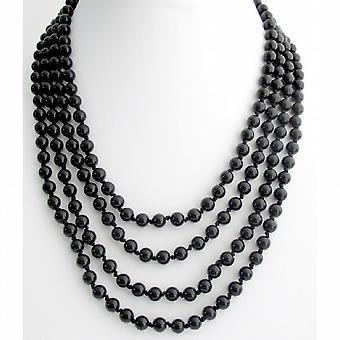 Schwarze Perle 100 Zoll lange Halskette Hand Geknoteter Perlen Collier