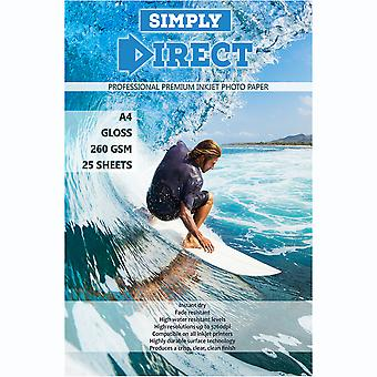 25 x Simply Direct A4 Gloss Inkjet Photo FSC Printing Paper - 260gsm - Professional Premium Photographic Paper