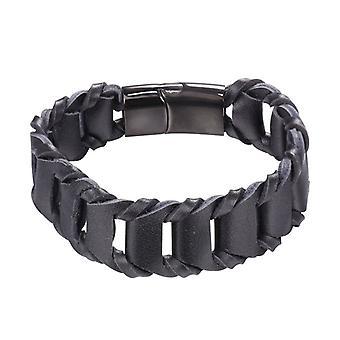U7 braided bracelet of imitation leather-black