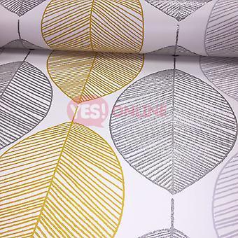 Scandi blad behang laat Glitter Metallic zilver geel wit Arthouse