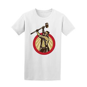 Vintage-Mann mit Hammer T-Shirt Herren-Bild von Shutterstock