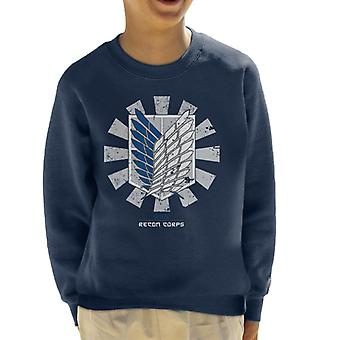 Recon Corps Retro Japanese Attack On Titan Kid's Sweatshirt