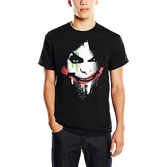 Mężczyźni's DC Comics Batman Arkham City Halloween Joker Face Black T-Shirt