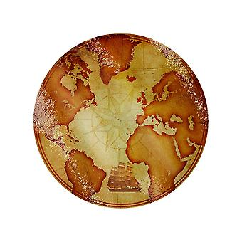 Grindstore Vintage Map Circular Glass Chopping Board