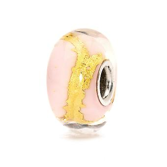 Trollbeads Pink Gold Silver & Glass Bead TGLBE-20051