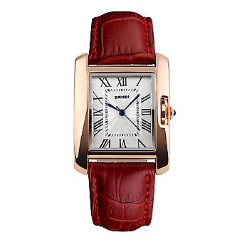 Skmei Beautiful Women's Watch Square Rose Gold Roman Numerals Genuine Leather Strap UK