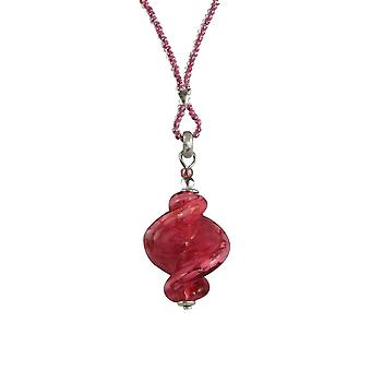 Eternal Collection Sirocco Amaranth Pink Twisted Murano Glass Pendant Necklace