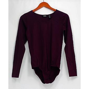 Du Jour Top Long Sleeve Scoop Neck Knit Bodysuit Purple A295527