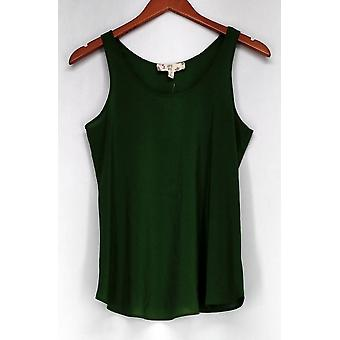 Hippie Rose Top Scoop Neck Rounded Hem Tank Olive Green Womens