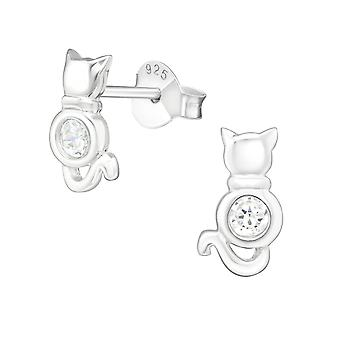 Cat - 925 Sterling Silver Cubic Zirconia Ear Studs - W22000X