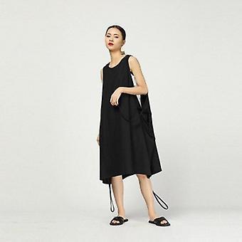 Round Neck Sleeveless Drawstring Kleid