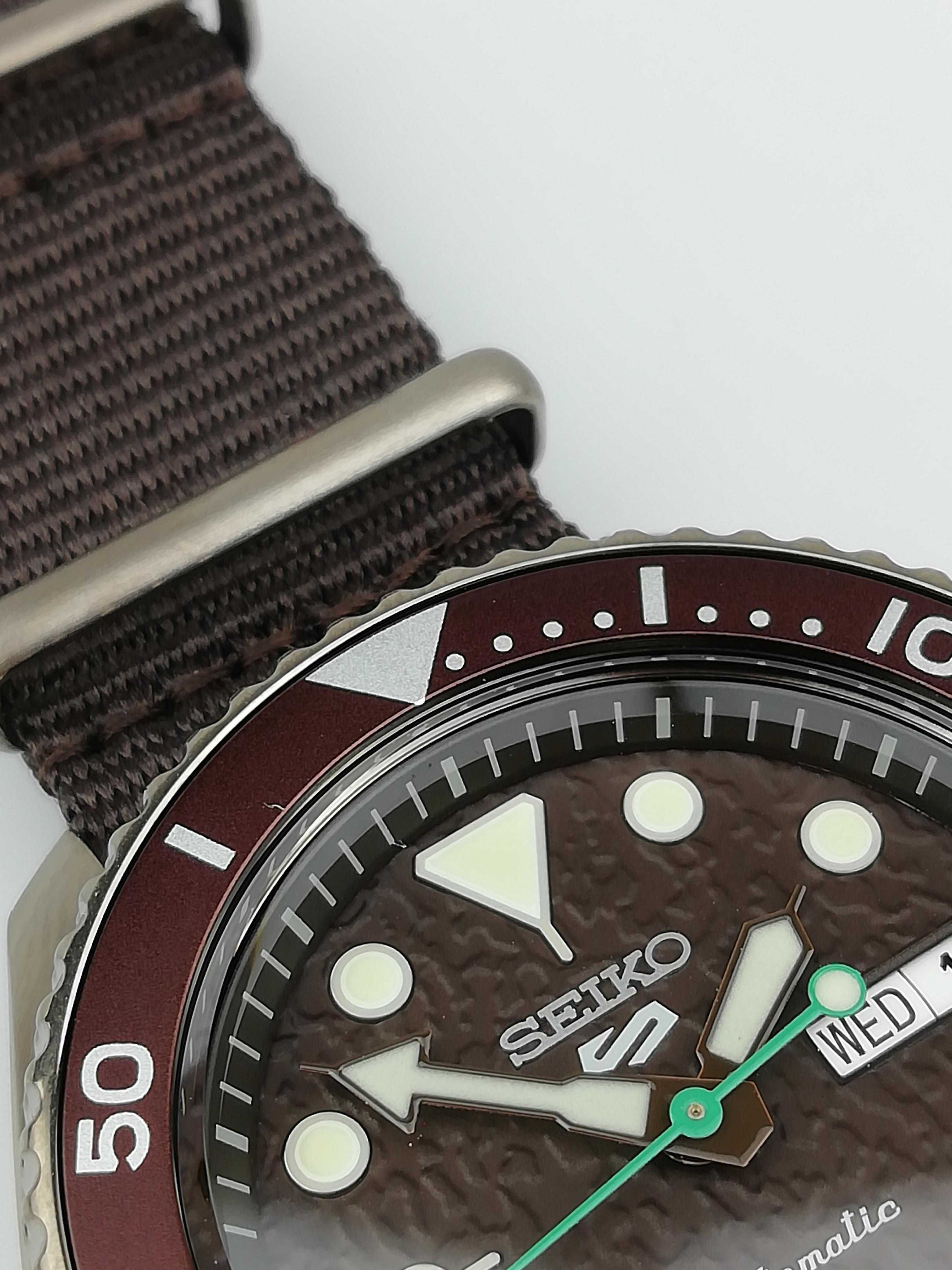 Seiko 5 Sports Stainless Steel Case Brown Canvas Strap Automatic Men's Watch SRPD85K1