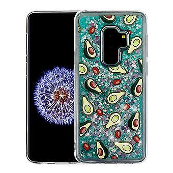 Avokado & grön Quicksand (hjärtan) glitter hybrid Case för Galaxy S9 plus