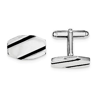 925 Sterling Silver Polished Not engraveable and Black Enamel Cuff Links Jewelry Gifts for Men