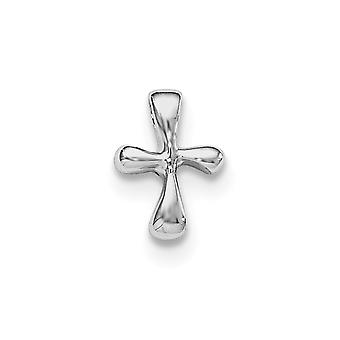 925 Sterling Silver Rh Plated for boys or girls Polished Cross Pendant - 1.2 Grams