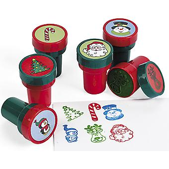 24 Christmas Theme Self Inking Stampers for Kids Crafts & Party Bags