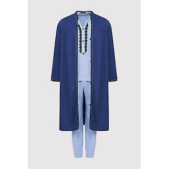 Jabador assem men's tunica top giacca longline e pantaloni ricamati co-ord set in blu