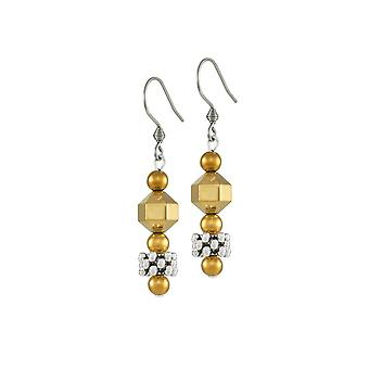 Eternal Collection Apollo Silver And Gold Hematite Drop Pierced Earrings