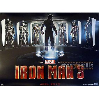 الرجل الحديدي 3 ملصق مزدوج الوجه يندفع (2013) ملصق السينما الأصلي (رباعية)