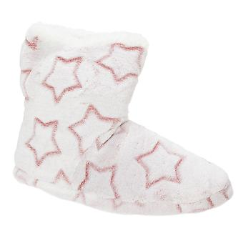 Slumberzzz Womens/Ladies Star Embossed Bootee Slippers