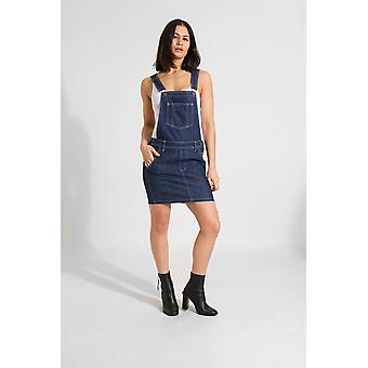 Cicely womens short denim dungaree dress -rinsed blue