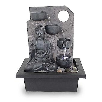 Table fountain Room fountain FoBuddha Ancient Black very large with 38.5 cm LED 10871