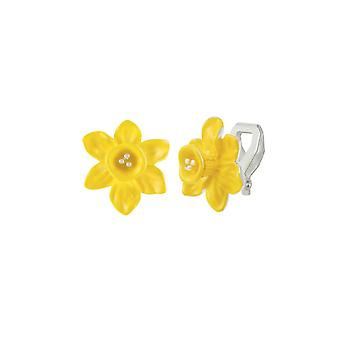 Eternal Collection Daffodil Yellow Enamel Silver Tone Flower Stud Clip On Earrings