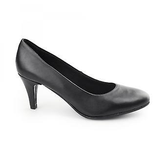 Comfort Plus Saffron Ladies Leather Wide Fit Court Heels Black