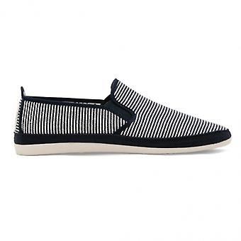 Flossy Brieva mens canvas slip op Plimsolls Navy