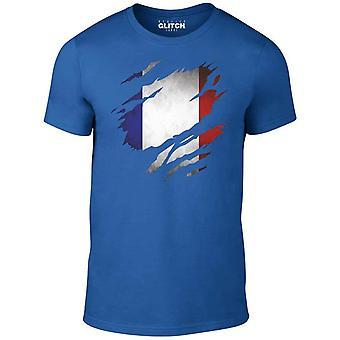 Homens ' s rasgou a bandeira de France t-shirt