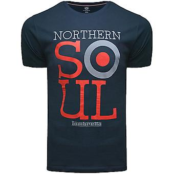 Lambretta mens Northern Soul casual korte mouw bemanning hals Tee T-Shirt-Navy