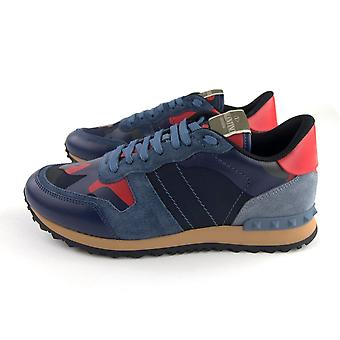 Valentino Rockrunner Camouflage Sneaker Red/Blue Camo Pl4