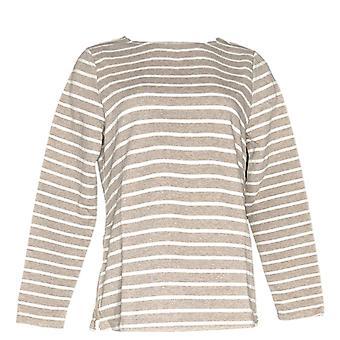 Isaac Mizrahi Live! Women's Sweater SOHO Striped Sweatshirt Beige A269641