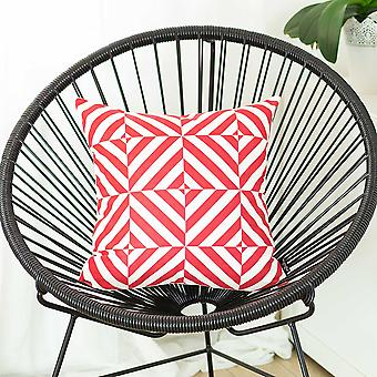 Red and White Geometric Squares Decorative Throw Pillow Cover